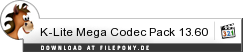 Download K-Lite Mega Codec Pack bei Filepony.de